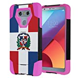 Capsule Case Compatible with LG G6 [Hybrid Fusion Dual Layer Shockproof Combat Kickstand Case Black Pink] for LGG6 LG G6 2017 - (Dominican Republic Flag)