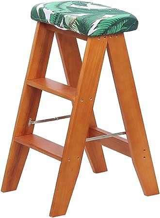 Taburete con peldaño Escalera plegable para el hogar Taburete Escalera de 2 escalones Taburete con peldaño de madera Lugares altos en la cocina, taburete del baño Escalera de interior multifunción: Amazon.es: Hogar
