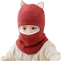 FENICAL Baby Autumn Winter Face Mask Windproof Wool Hat With Scarf Warm Knitted Caps Wrap for Kids 2-5 Years Old (Red…
