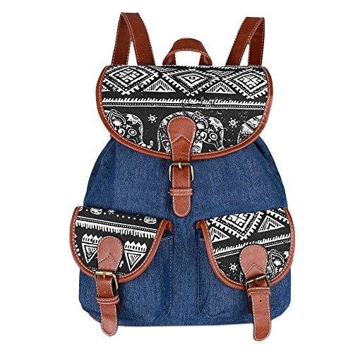 Vbiger Canvas Backpack for Women & Girls Boys Casual Book Bag Sports Daypack (Elephant Black1) by VBIGER (Image #1)