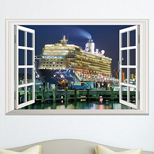 Ducklingup 3D Window View Luxury Cruises Yacht Ship Boat Mural Art Poster Sticker Home Wall Decal (A)