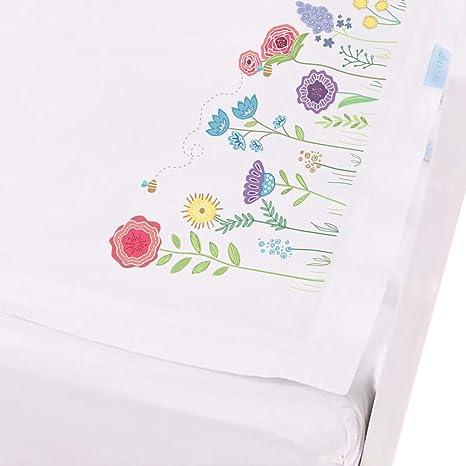 QuickZip - Juego de sábanas para cuna blanco Sprouting Garden
