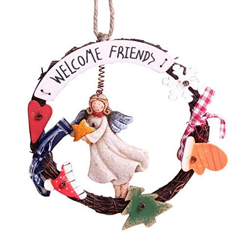 (Vosarea Welcome Door Wreaths Retro Old Angel Welcome Door Signs Rustic Home Front Door Decorations (Random)