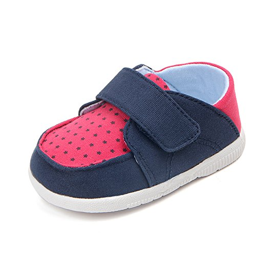 Kuner Baby Boys Girls Cotton Rubber Sloe Outdoor Sneaker First Walkers Shoes (12.5cm(6-12months), Blue+Rose) by Kuner