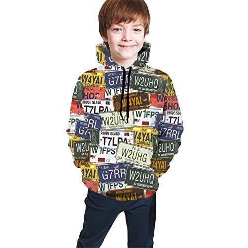 Teen Hooded Sweatshirts,Retro American Auto License Plates Utah Washington Rhode Island North Carolina Print M (Autos Scribble)