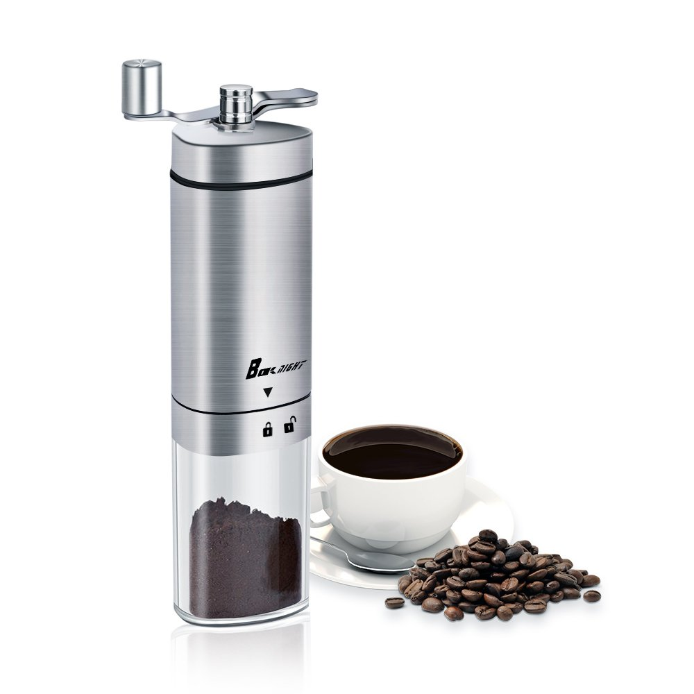Manual Coffee Grinder, Coffee Bean Grinder, Ceramic Conical Burr,Adjustable Hand Grinder,Portable Conical Burr Mill, Brushed Stainless Steel With Foldable Crank Arm.