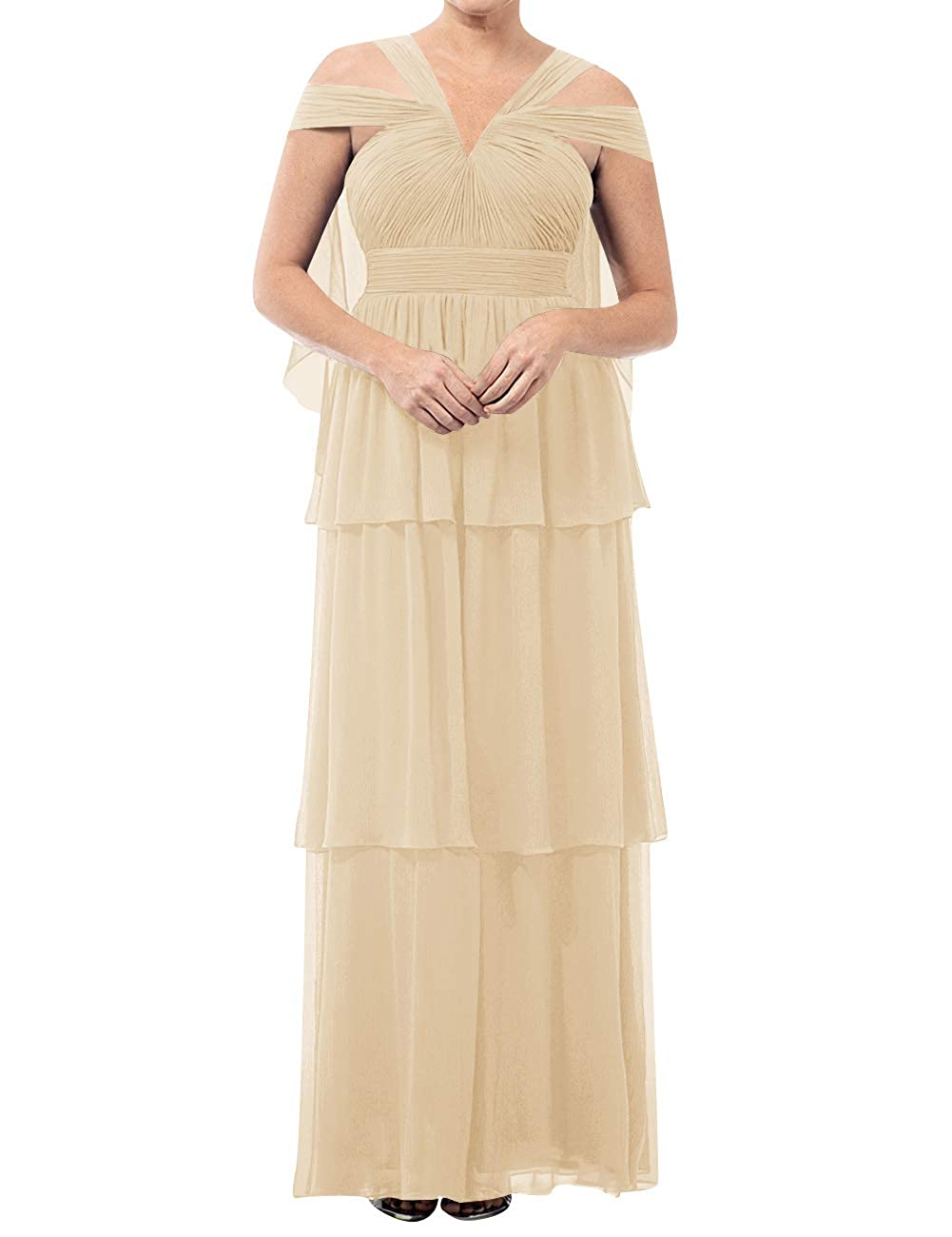 Champagne Mother of The Bride Dresses VNeck Long Mother of Groom Dress Plus Size Evening Gowns