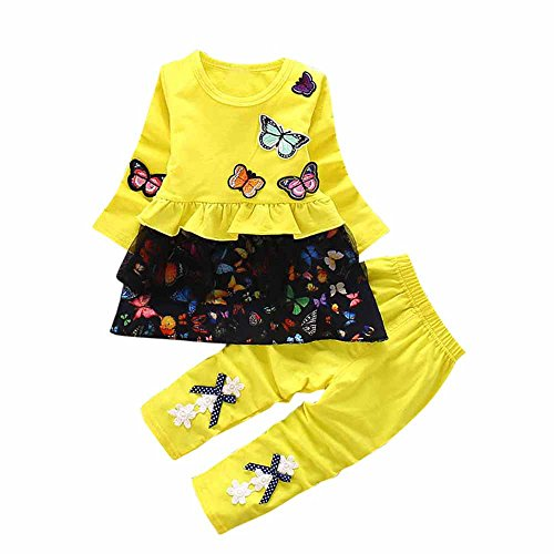 - Gonxifacai 2PcsToddler Kids Baby Girls Winter Outfits Butterfly Print Tops+Bow Pants Clothes Set(Yellow,36 Months)