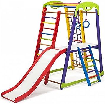 KindSport Centro de Actividades con Tobogán ˝JuniorColor-Plus-2˝, Red de Escalada, Anillos, Escalera Sueco, Campo de Juego Infantil: Amazon.es: Juguetes y juegos