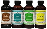 Lorann Oils Coconut, Banana, Rum & Coffee Bakery Emulsion Bundle 4 Fluid Ounces Each For Sale