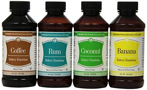Lorann Oils Coconut, Banana, Rum & Coffee Bakery Emulsion Bundle 4 Fluid Ounces Each Rum Flavor Oil