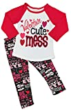 Boutique Clothing Girls Valentine 's Day Valentine Cute Mess Leggings Set 6