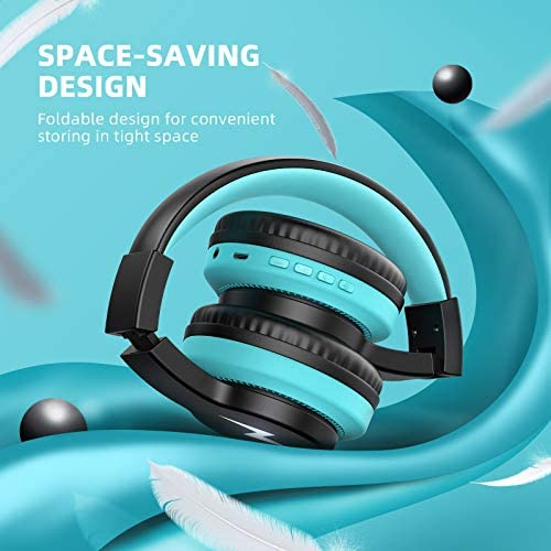 Kids Bluetooth Headphones Light Up, Jelly Comb Wireless Headphones with Noise Cancelling Microphone, Foldable Stereo Bass Headset, Volume Control Headset for Boys Girls Teens Child