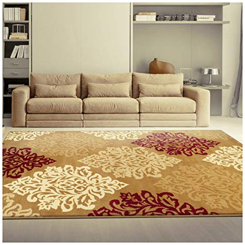Superior Danvers Collection Area Rug, Modern Elegant Damask Pattern, 10mm Pile Height with Jute Backing, Affordable Contemporary Rugs - Brown, 8' x 10' Rug