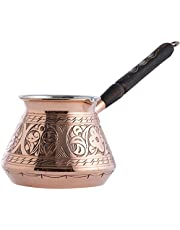 CopperBull THICKEST Solid Hammered Copper Turkish Greek Arabic Coffee Pot Stovetop Coffee Maker Cezve Ibrik Briki with Wooden Handle,(Large - 15 Oz) - ENGRAVED by CopperBull