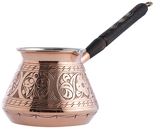 CopperBull THICKEST Blank Hammered Copper Turkish Greek Arabic Coffee Pot Stovetop Coffee Maker Cezve Ibrik Briki with Wooden Handle,(Large - 15 Oz) - ENGRAVED