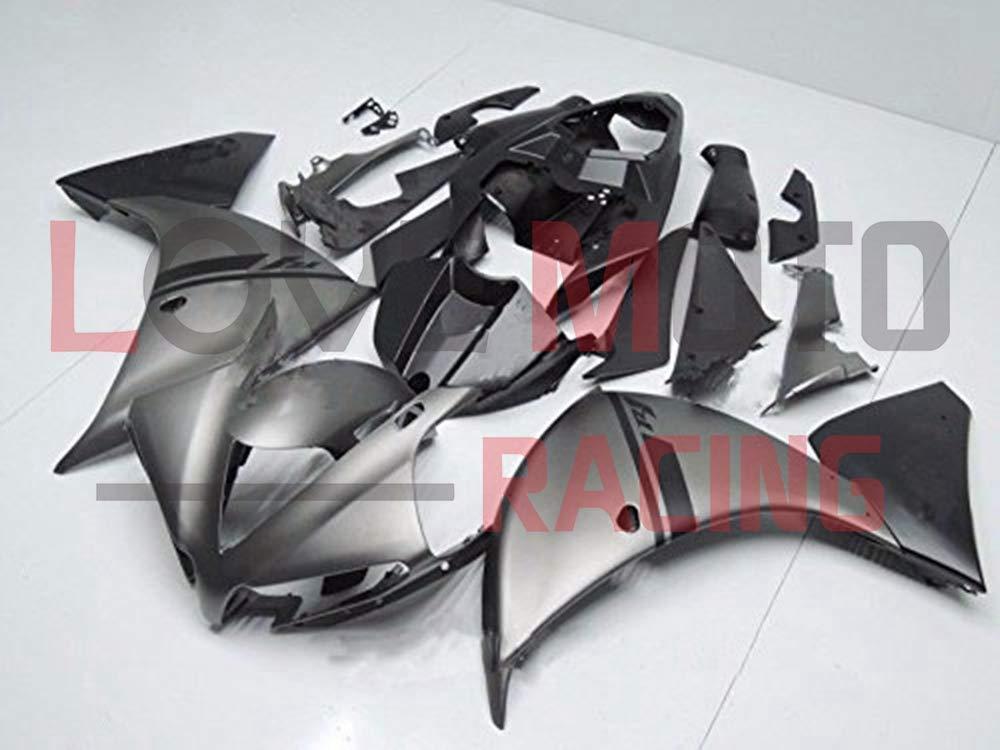LoveMoto ブルー/イエローフェアリング ヤマハ yamaha YZF-1000 R1 2012 2013 2014 12 13 14 YZF 1000 ABS射出成型プラスチックオートバイフェアリングセットのキット グレー ブラック   B07KK9H3HG
