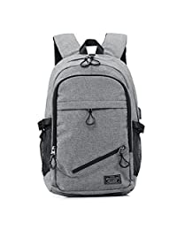 KEYNEW Business Laptop Backpack with USB Charging Port for Men Water Resistant Computer Backpacks Fits 15.6 Inch Laptop - Gray