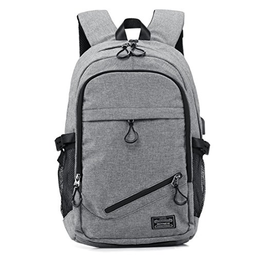 5a22d1f4b71a KEYNEW Business Laptop Backpack with USB Charging Port for Men Water  Resistant Computer Backpacks Fit 15.6 Inch Laptop - Gray