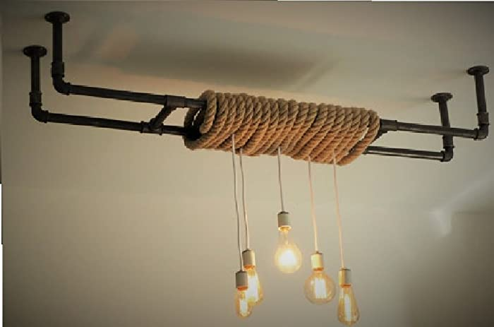 Lampe Plafonnier Lustre Industriel En Tuyaux De Fonte Noire Amazon