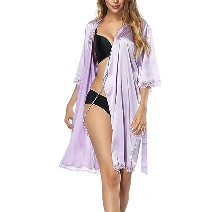 Ropa de dormir para pijamas para mujeres Para mujer Kimono Batas Satén Color puro Corto Sedoso ...