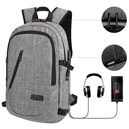 Laptop Backpack Business Travel Laptop Backpack College Backpack with USB Charging Port and Lock &Headphone Interface Water-Resistant Laptop Bag for Women and Men Fits up to 15.6-Inch Laptop (Grey)