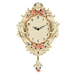 Collections Etc Cherub Angel Floral Pendulum Wall Clock, Beige