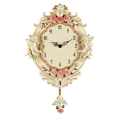 Collections Etc Cherub Angel Floral Pendulum Wall Clock, Beige
