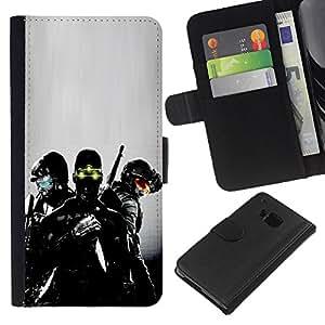 LECELL--Cuero de la tarjeta la carpeta del tirón Smartphone Slots Protección Holder For HTC One M9 -- Visión nocturna Soldado --