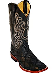 Ferrini Mens Ostrich Patchwork Exotic Western Boot Square Toe - 1169309