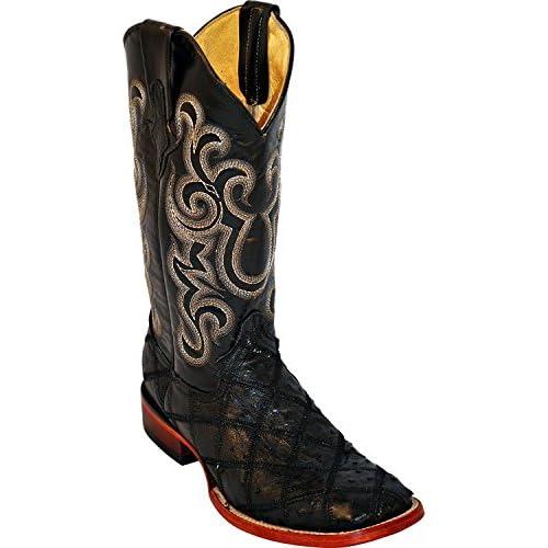 Ferrini Men's Ostrich Patchwork Exotic Western Boot Square Toe - 1169309
