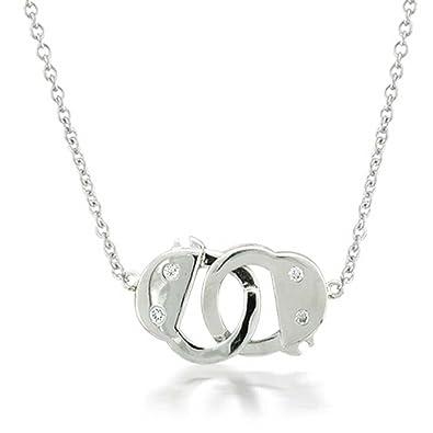 Amazon bling jewelry cz interlocking handcuff pendant sterling bling jewelry cz interlocking handcuff pendant sterling silver necklace 17 inches aloadofball Image collections