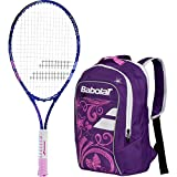 Babolat B'Fly 19'' Inch Child's Tennis Racquet/Racket Kit or Set Bundled with a Purple Junior Tennis Backpack (Best Back to School Gift for Boys and Girls)