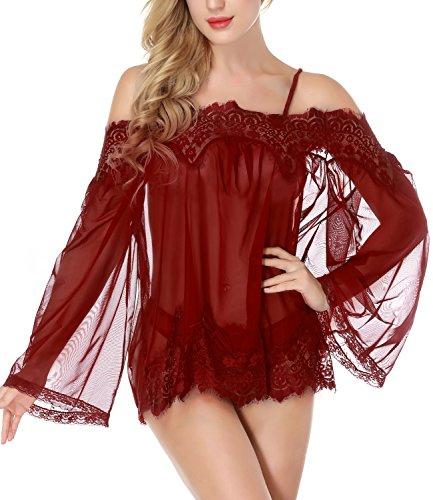 NINGMI Women Lingerie Babydoll Lace Mesh Chemise Sheer Nightgown Sleepwear Dress Butterfly Sheer Teddy
