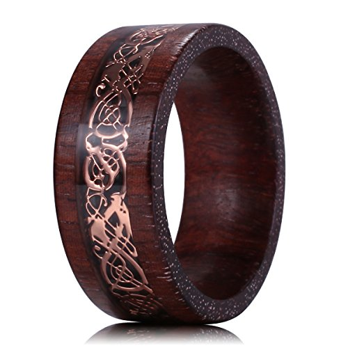 King Will DRAGON Exclusive Design 8mm Sandalwood Inlay Rose Gold Celtic Wedding Engagement Ring Band Comfort fit(11.5) by King Will (Image #2)