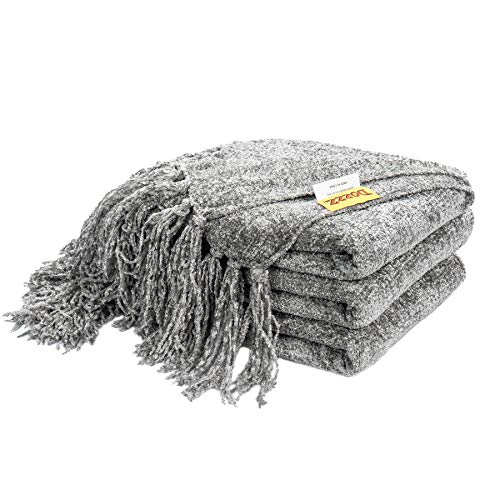 DOZZZ Fluffy Chenille Knitted Throw Blanket with Decorative Fringe and Striped for Cover Home Décor Bed Sofa Couch Chair