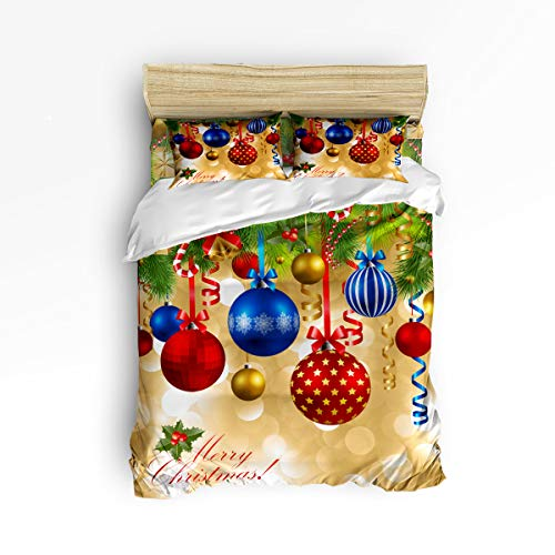 Christmas Balls Duvet Cover Set Cedar Bell Ribbon Colorful Decor Bedding Sets Soft Breathable Comforter Cover Corner Ties and Zipper Closure Includes 2 Pillowcases (4 Pcs, King) ()