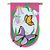 Two Group – Butterflies Garden Friends – Everyday Bugs & Frogs Applique Decorative Vertical House Flag 28″ x 44″