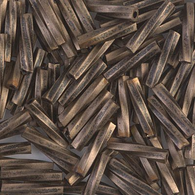 - MIyuki Twisted Bugle Beads 2.7 x 12mm Gold Antiqued Matte Black 12 Grams TW2712-1275