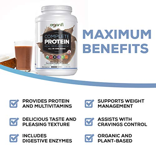 Organifi: Complete Protein - Vegan Protein Powder - Organic Plant Based Protein Drink - Soy, Dairy, and Gluten Free - Digestive Enzymes - Complete Chocolate Flavor - 30 Day Supply - Immunity Support