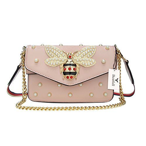 Pink Designer Purse - Beatfull Designer Pu Leather Handbags for Women, Fashion Bee Shoulder Bags Cross Body Bag with Pearl
