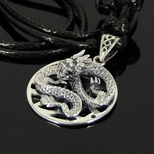 (Men and Women Adjustable Necklace Handmade with Genuine 925 Stamp Sterling Silver 3D Dragon Pendant & Korea Wax Rope, Nice Gift Box Included)
