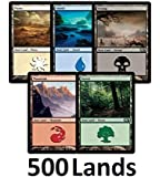 500 Magic: The Gathering Basic Lands - 100 of Each Land Type (Plains, Islands, Swamps, Mountains, Forests)