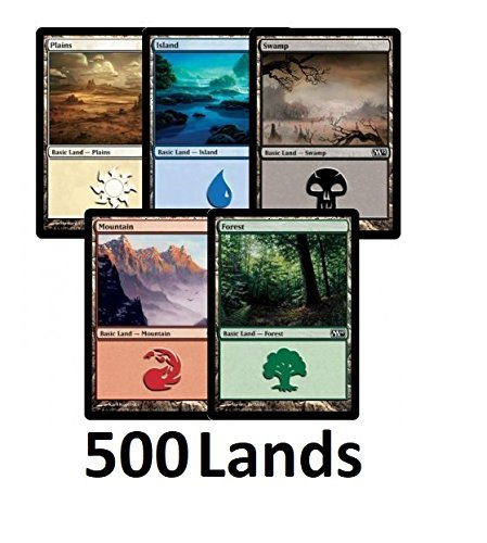 Magic: The Gathering 500 Basic Lands - 100 of Each Land Type (Plains, Islands, Swamps, Mountains, Forests) (Magic The Gathering Blue Green Deck Standard)