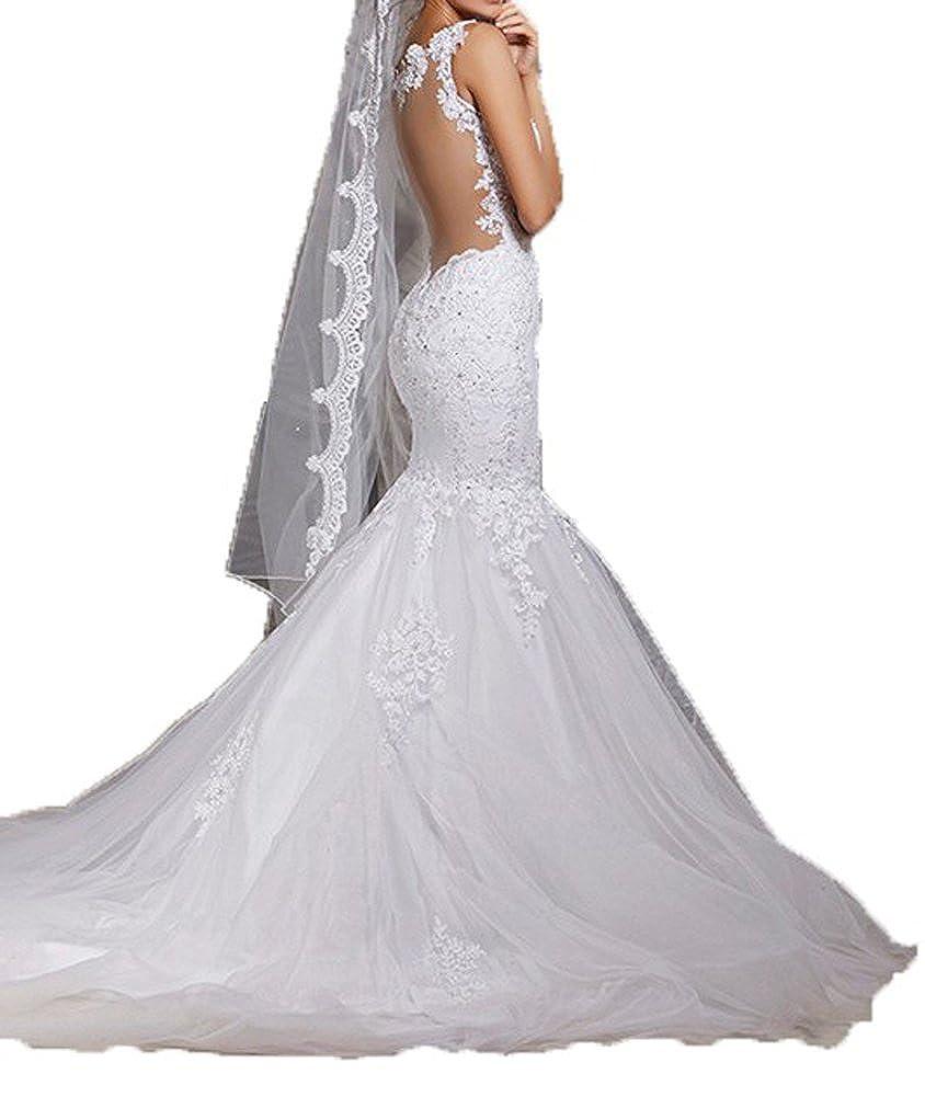 Fanmu Spaghetti Straps Lace Appliqued Trumpet Mermaid Bridal Wedding Dresses