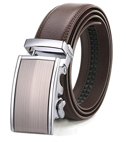 ITIEZY Adjustable Belt for Men With Automatic Buckle Brown Strap XXL (Belt Brown Strap)