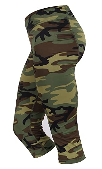 85f214f5ed74d7 RTC Womens Camouflage Workout Performance Capris Pants Woodland Camo  (X-Small)