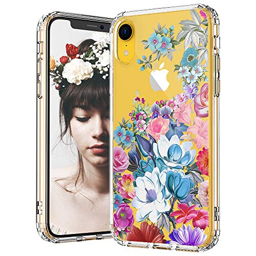 - MOSNOVO iPhone XR Case, Clear iPhone XR Case, Peony Floral Flower Garden Pattern Clear Design Transparent Plastic Hard Back Case with Soft TPU Bumper Protective Case Cover for Apple iPhone XR