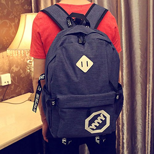 bluee 4Y Travel Bag Canvas Backpack shoulders young computer South Korea leisure senior high school students