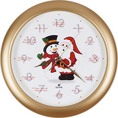 JUSTIME Splendid 14-inch 12 Song of Carols of Christmas Warm Santa Claus & Snowman Melody Wall Clock, Quartz Home Wall Deco Clock (SS Gold)